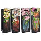 Картинка Пакет подарочный, высококачественная бумага, 12,8х36х8,4 см, 4 дизайна с вазами в сети магазинов постоянных распродаж Галамарт