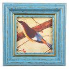Картинка Фоторамка с золотым кантом голубая, 10х10 (14,5х14,5см), пластик в сети магазинов постоянных распродаж Галамарт