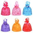 Картинка Мешок-сумка подарочная с рисунком, полиэстер, 24,5х24,5 см, 6 цветов в сети магазинов постоянных распродаж Галамарт