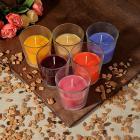 Картинка LADECOR Свеча ароматическая в стеклянном стакане, 8х7,5 см, 6 ароматов в сети магазинов Галамарт