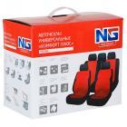 NEW GALAXY Авточехлы универсальные комфорт плюс 9 пр., MESH, PVC, 3 замка, Airbag, черный/красный