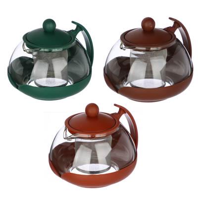 Чайник заварочный 750мл,овальный, ситечко из нержавеющей стали, стекло, полипропилен, 3 цвета - 1