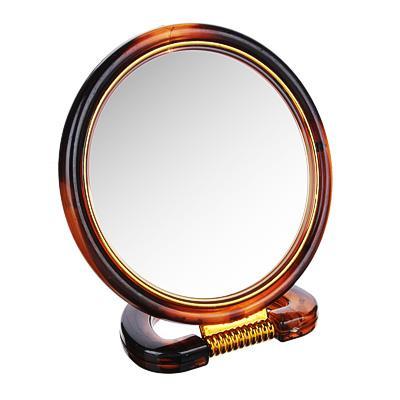 Зеркало настольное круглое ЮниLook, d.14,5 см, коричнево-золотое