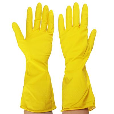 Перчатки резиновые желтые, L, VETTA