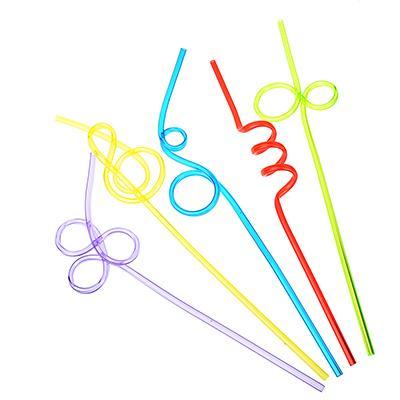 Трубочки для напитков 5шт, 25см, фигурные, цветные,