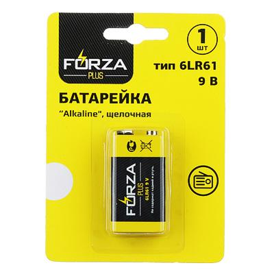 Батарейка щелочная, 1 шт, тип Крона (6LR61), BL, FORZA