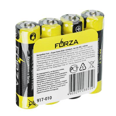 Батарейки солевые, 4 шт, тип AA (R6), плёнка, FORZA
