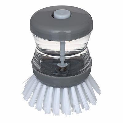 Щетка с мыльницей для посуды с дозатором, пластик, 8 см, 3 цвета, VETTA