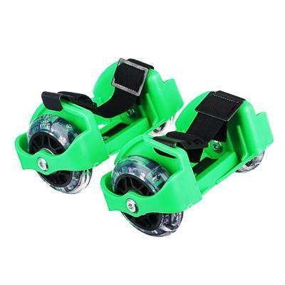 Ролики на пятку с подсветкой, база пластик раздв, колеса ПВХ, 7,2 см, 3LED, до 80 кг, 6+, зеленый, S