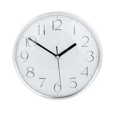 Часы настенные, пластик, 25см, 1хАА, серебро,