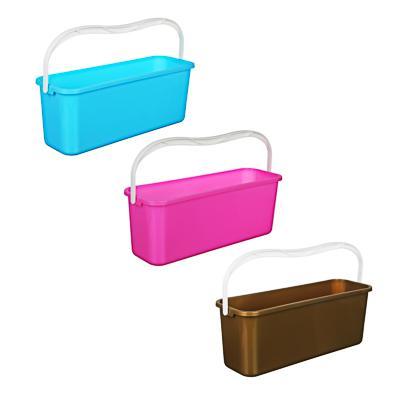 Ведро для мытья полов с ручкой прямоугольное, пластик, 45х15х17 см, 4 цвета