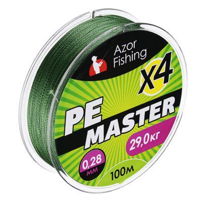 Леска плетеная AZOR FISHING PE Мастер, 0,28мм, 100м, 29кг, зеленая