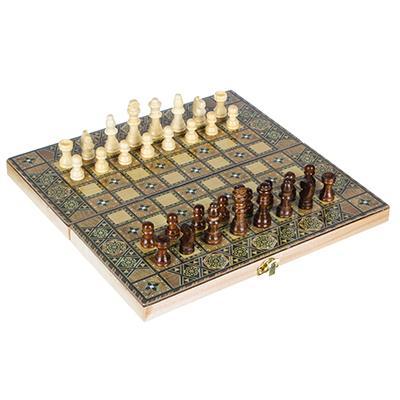 Набор игр 3 в 1 (шашки, шахматы, нарды) узорчатые, МДФ, дерево, 29х14,5х4см