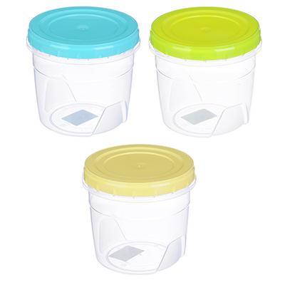 Банка для хранения продуктов пластиковая с завинчивающейся крышкой, 1л, 3 цвета