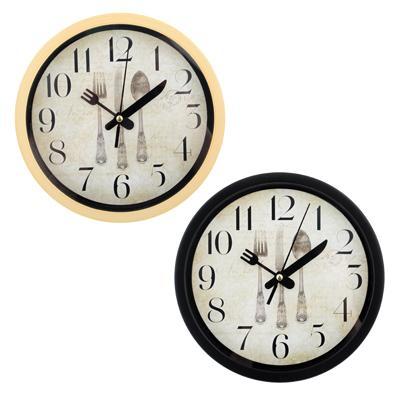 Часы настенные, пластик, 20см, 2 вида, 1xAA,