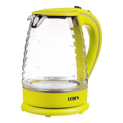 Чайник электрический 1,7 л LEBEN, 1850 Вт, рифлёное стекло/пластик, желтый 475-133