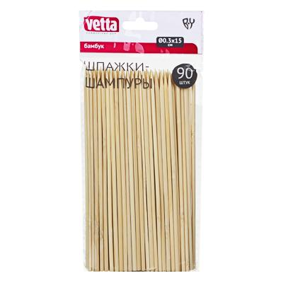 Шпажки-шампуры из бамбука 90 шт, 15 см, d.3 мм, VETTA