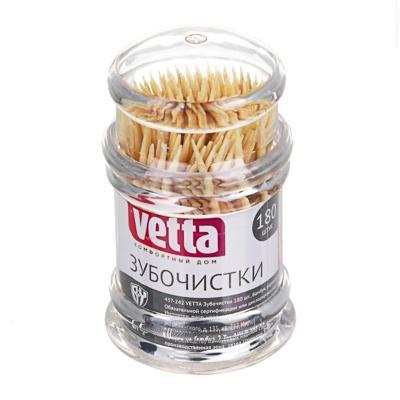 Зубочистки бамбуковые 180 шт, акриловая упаковка, VETTA