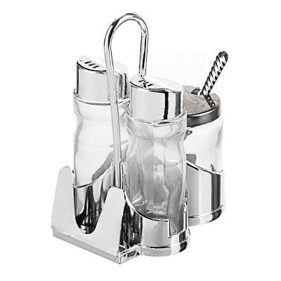 Набор для соли, перца и горчицы с салфетницей, стекло, пластик, металл, h13см,