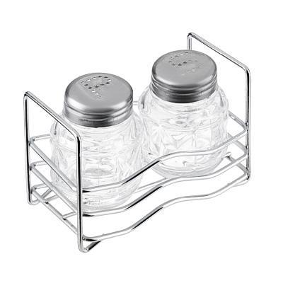 Набор для соли и перца на подставке, стекло, металл, h6см,