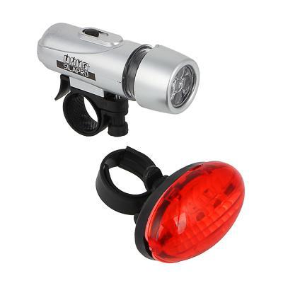 Набор фонарей, 2шт, задний: 7,5х4х3,5 см, 3LED, 2хААА + передний: 10х3,5х3,5 см, 5LED, 4хААА, SILAPR