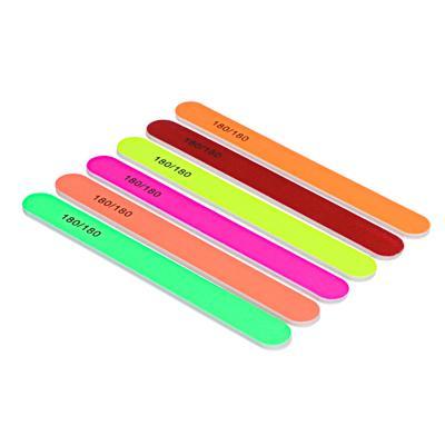 Пилка для ногтей шлифовальная 2-х сторонняя ЮниLook, 180/180 грит, 17,8 см, 6 цветов