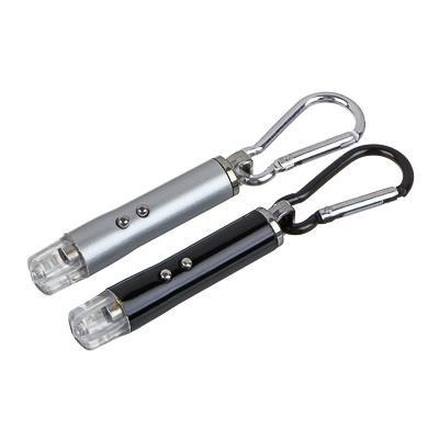 ЧИНГИСХАН Фонарик-брелок на карабине 1 LED + УФ + лазер, 3xLR44, алюминий, 6,6х1,2 см