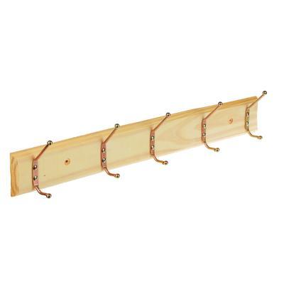 Вешалка настенная, 5 двойных крючков, дерево, металл, 49х7см