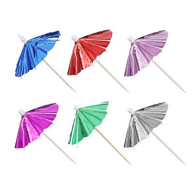 Набор шпажек праздничных с зонтиком 12шт, дерево, 9,5см