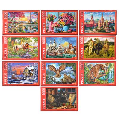 РЫЖИЙ КОТ Пазлы 1000 деталей, картон, 68,5х48,5см/67х42см, 10 дизайнов, РК1000-7798