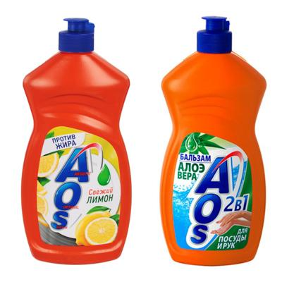 Средство для мытья посуды AOS Лимон п/б450гр, арт 1118-3