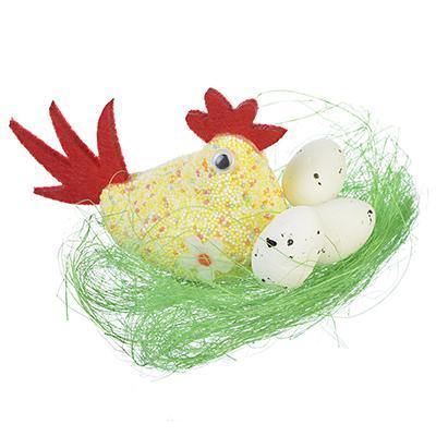 Декор пасхальный в виде курочки в гнезде, пластик, полиэстер, 12-15см, арт.1610-03