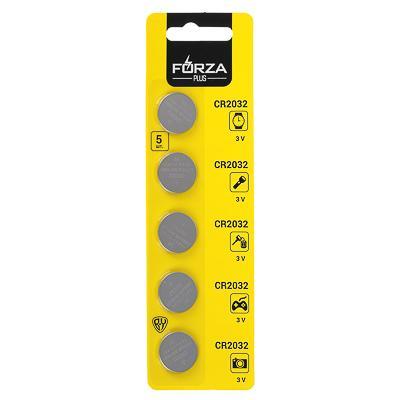 Батарейки, 5 шт, СR2032 литиевые, BL, FORZA