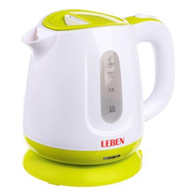 Чайник электрический 1 л LEBEN, 900 Вт, пластик, скрытый нагревательный элемент 291-012