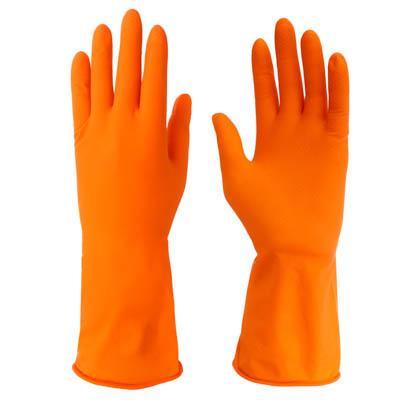 Перчатки резиновые для уборки оранжевые, L, VETTA