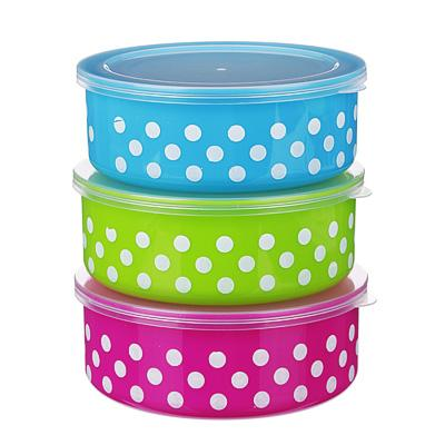 Набор контейнеров 3шт (10x4см + 13x5см +15,5x6см), пластик, 3 цвета