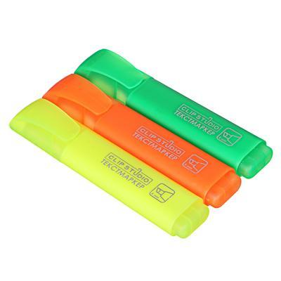 Набор маркеров-выделителей, скошенный наконечник, линия 4мм, 3 цвета