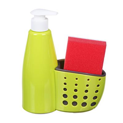 Диспенсер для мыла с губкой в комплекте, пластик, 16х7х19 см, VETTA