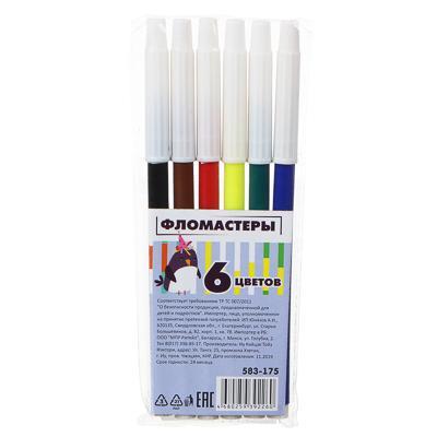 Фломастеры ClipStudio с белым колпачком, 6 цветов