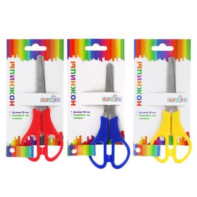 Ножницы школьные ClipStudio 13 см с линейкой, 3 цвета