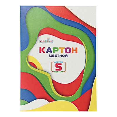 Набор картона А4 ClipStudio, 5листов, 5цветов