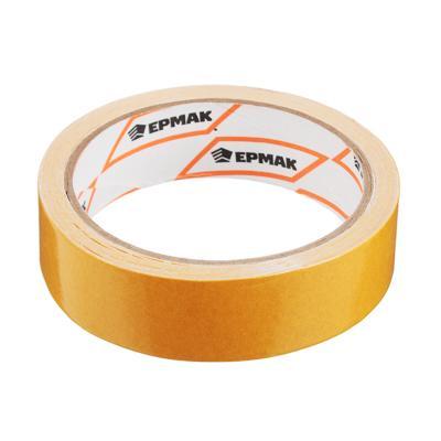 Клейкая лента двухсторонняя, полипропилен, 25 ммх10 м, инд.упаковка, ЕРМАК