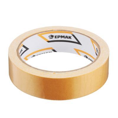 Клейкая лента двухсторонняя, ткань осн., 25 ммх10 м, инд.упаковка, ЕРМАК