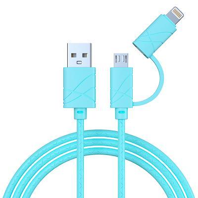 Кабель для зарядки FORZA 2 в 1, iP и Micro USB, 1 м, 2А, плоский кабель, колпачки для штекеров