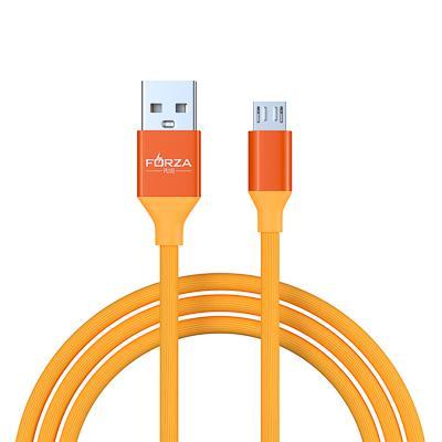 FORZA Кабель для зарядки Лето Micro USB, 1м, 2А, прорезиненный, 4 цвета, пакет