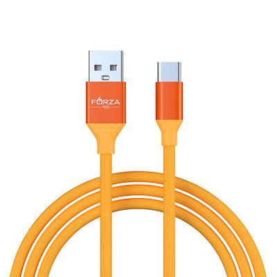 FORZA Кабель для зарядки Лето Type-C, 1м, 2А, прорезиненный, 4 цвета, пакет
