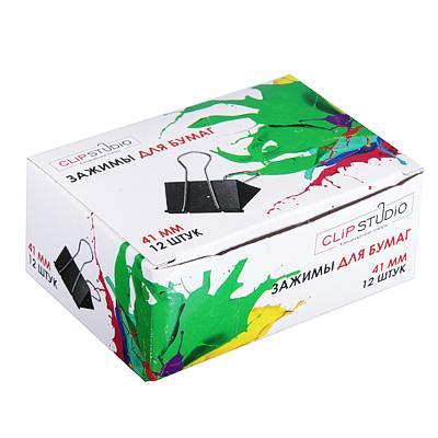 Набор зажимов для бумаг ClipStudio 41 мм, 12 штук, черный
