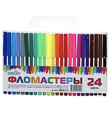 ClipStudio Фломастеры 24 цвета, с цветным вент.колпачком, пластик, в ПВХ пенале