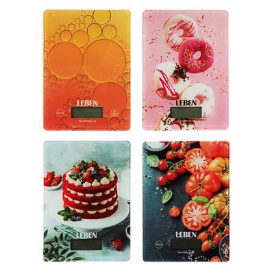 Весы кухонные электронные до 5 кг LEBEN, стекло с дизайном 268-047