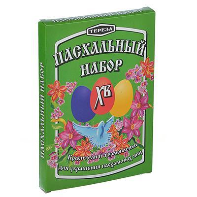 Пасхальный набор 3+7краситель 3цвета по 3г, 7 термоэтикеток, коробка-подставка для сушки 6 яиц